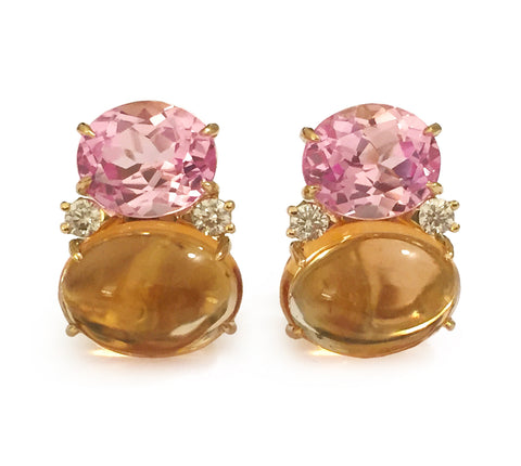 Large GUM DROP™ Earrings with Pink Topaz and Cabochon Citrine and Diamonds
