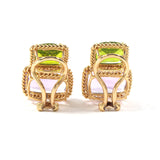 18kt Yellow Gold Two Stone Cushion Cut Earring with Rope Twist Border