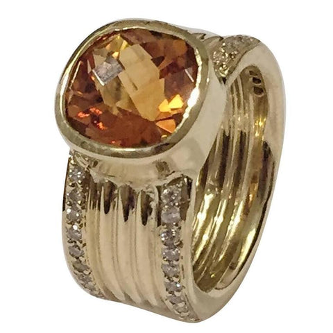 and yellow gold citrine ring baguette diamond item