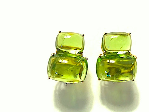 18Kt Yellow Gold Cushion Cut Cabochon Peridot Earrings