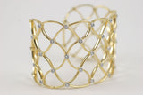 Gold Woven Cuff with Diamonds