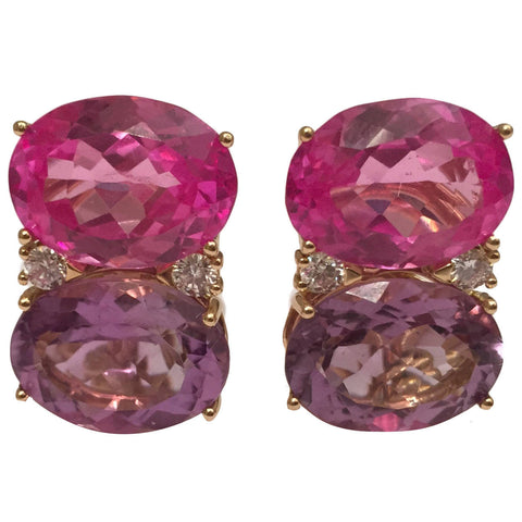 Jumbo GUM DROP™ Earrings with Pink Topaz and Purple Amethyst and Diamonds