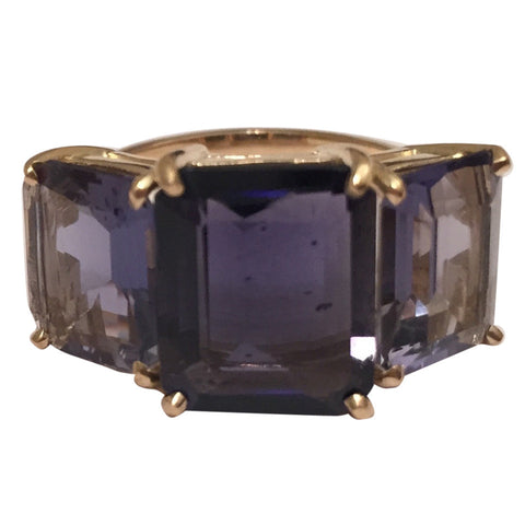 Bold Emerald Cut Iolite Gold Three Stone Ring