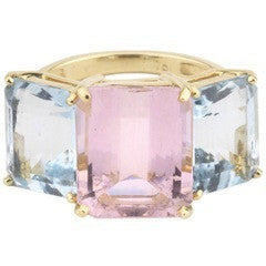 18kt Yellow Gold Emerald Cut Ring with Pale Pink Topaz and Blue Topaz
