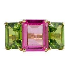 18kt Yellow Gold Emerald Cut Ring with Peridot and Pink Topaz