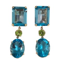 Geometric Blue Topaz and Peridot Drop Earring