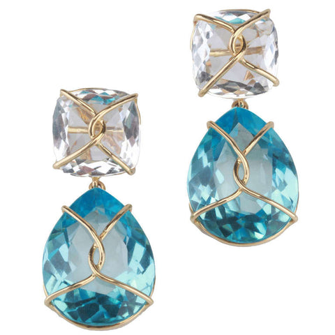 18kt Yellow gold Wrapped Drop Cushion Earring with Rock Crystal and Blue Topaz