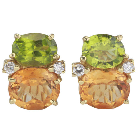Medium GUM DROP™ Earrings with Peridot and Deep Citrine and Diamonds