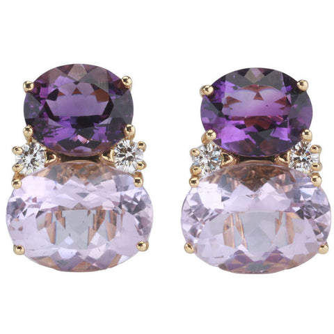 Large GUM DROP™ Earrings with Dark Amethyst and Pale Amethyst and Diamonds