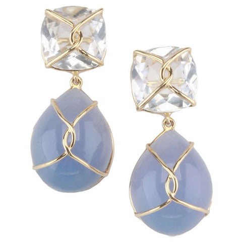 18kt Yellow gold Wrapped Drop Cushion Earring with Rock Crystal and Cabochon Chalcedony