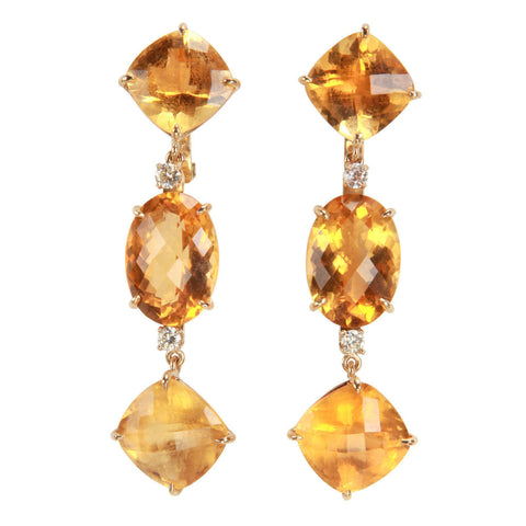Elegant Citrine Diamond Gold Three Stone Cushion Drop Earrings