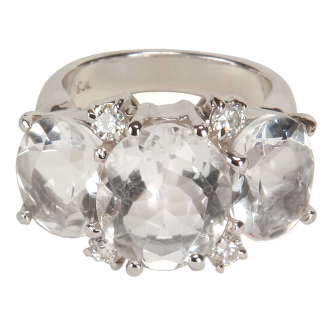 Medium 18kt White Gold Gum Drop Ring with Rock Crystal