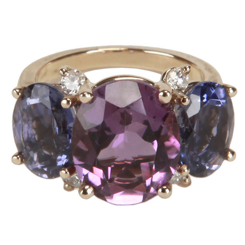 Medium GUM DROP™ Ring with Amethyst and Iolite and Diamonds