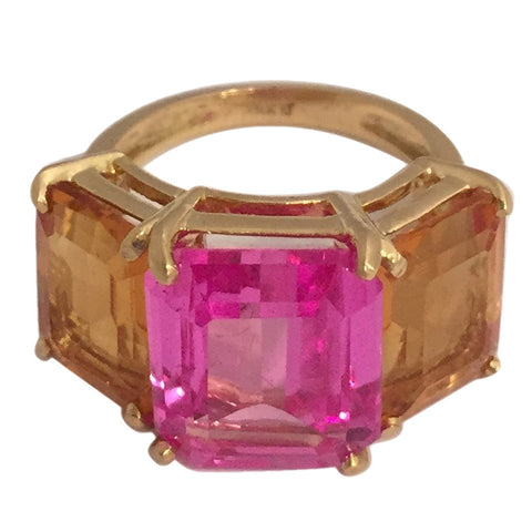 18k Yellow Gold Three Stone Emerald Cut Ring with Citrine and Pink Topaz