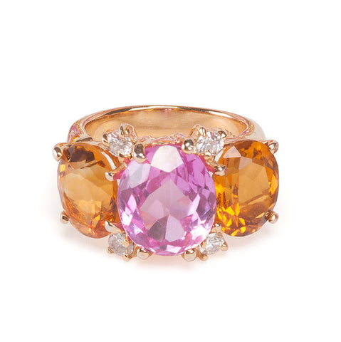 Medium GUM DROP™ Ring with Citrine and Pink Topaz and Diamonds
