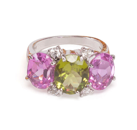Mini GUM DROP™ Ring with Peridot and Pink Topaz and Diamonds