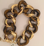 18kt Ebony Wood and Gold Link Bracelet