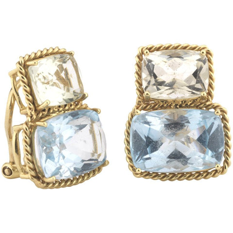 18kt Yellow Gold Medium Two Stone Cushion Cut Clip Earring with Rope Twist Border