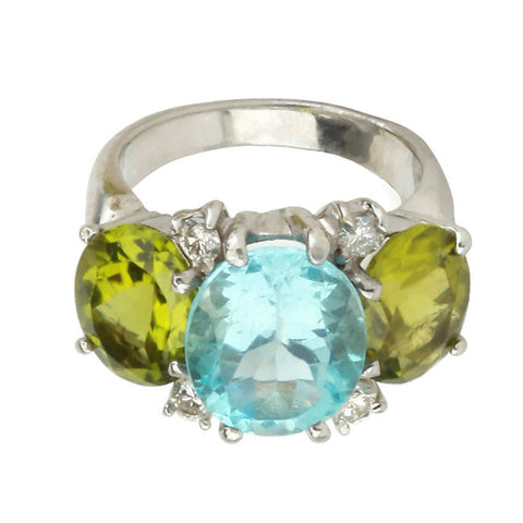 Medium 18kt White Gold Gum Drop Ring with Blue Topaz and Peridot