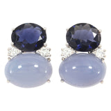 Large GUM DROP™ Earrings with Iolite and Cabochon Chalcedony and Diamonds