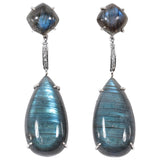 Labradorite White Gold and Diamond drop Earrings
