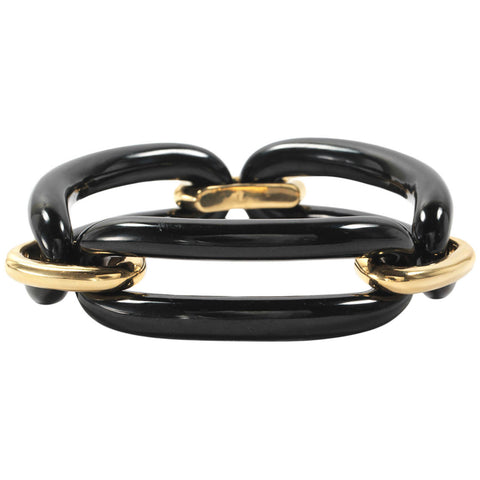 18kt Yellow Gold and Onyx Link Bracelet