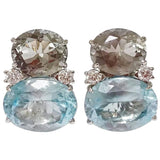 Large GUM DROP™ Earrings with Green Amethyst and Pale Blue Topaz and Diamonds