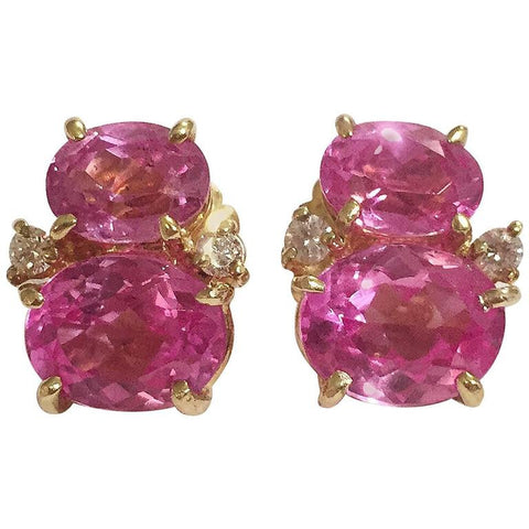 Mini GUM DROP™ Earrings with Two Tone Pink Topaz and Diamonds