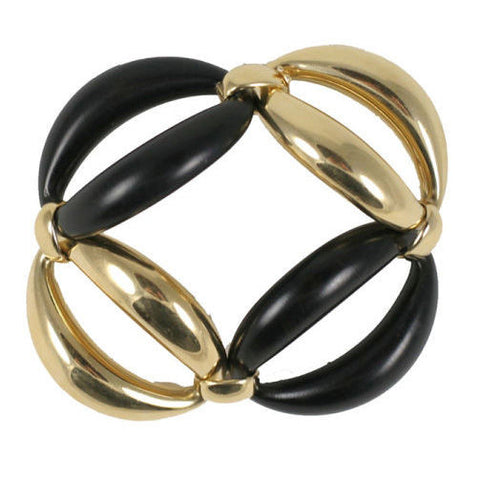 18kt Yellow Gold and Ebony oval link Bracelet