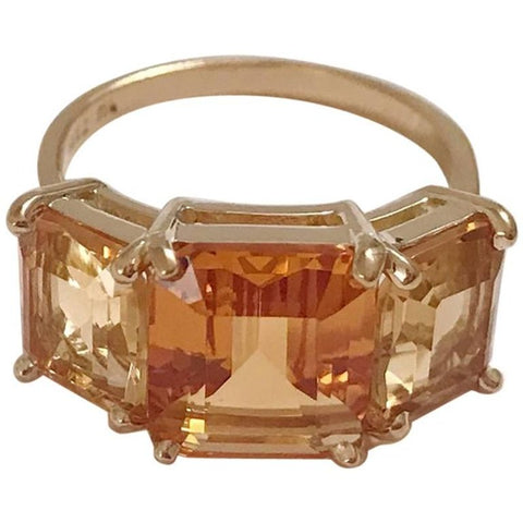 18 Karat Yellow Gold Mini Emerald Cut Ring with Two-Toned Citrine