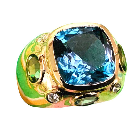Bonheur Ring with Blue Topaz, Amethyst and Diamond Domed Ring
