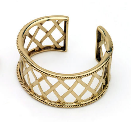 18k Woven Lattice Cuff Bracelet