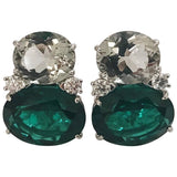 Large GUM DROP™ Green Amethyst and Green Topaz and  Diamond Earrings