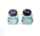 Large GUM DROP™ Earrings with Iolite and Blue Topaz and Diamonds