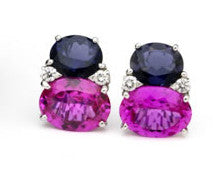 Large GUM DROP™ Earrings with Deep Iolite and Pink Topaz and Diamonds