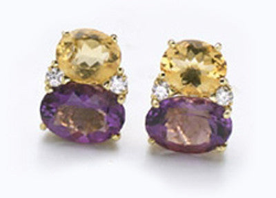 Large GUM DROP™ Earrings with Citrine and Amethyst and Diamonds