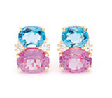 Medium GUM DROP™ Earrings with Blue Topaz and Pink Topaz and Diamonds