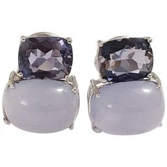 White Gold Double Cushion Earrings with Iolite and Cabochon Chalcedony