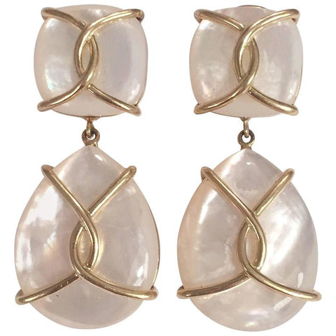Mother Of Pearl Cushion Drop Earrings with Twisted Gold Detail