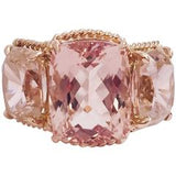 Elegant Three Stone Morganite and Pink Topaz Ring with Gold Rope Twist Border