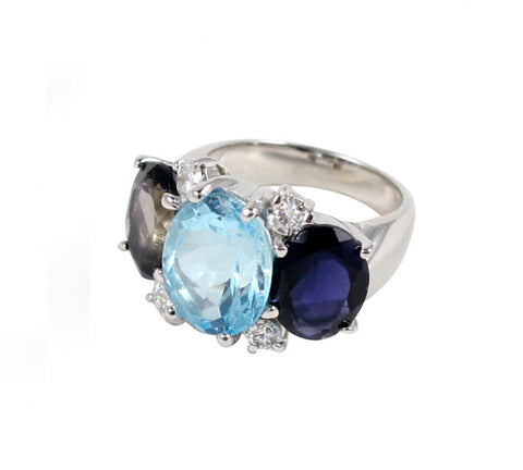 Large GUM DROP™ Ring with Iolite and Blue Topaz and Diamonds