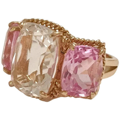 Elegant Three-Stone Rock Crystal and Pink Topaz Ring with Gold Rope Twist Border