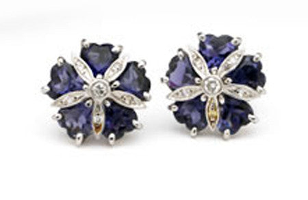 18kt White Gold Mini Sand Dollar Earrings with Iolite and Diamonds
