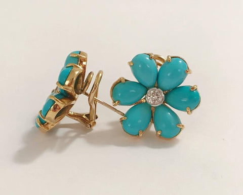 Turquoise Flower Stud Earrings With Diamond Center Christina