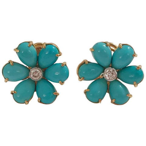 with products large diamond earrings center tur flower turquoise christina teal stud