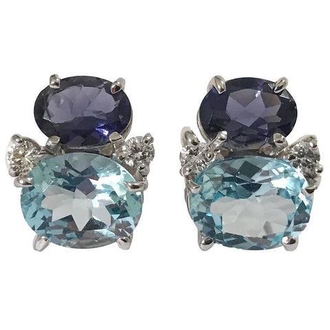 Mini GUM DROP™ Iolite Blue Topaz Diamond Earrings