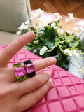 18kt Yellow Gold Mini Emerald Cut Ring with Pink Topaz and Blue Topaz