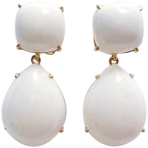 Yellow Gold Pear Drop Earring with White Jade