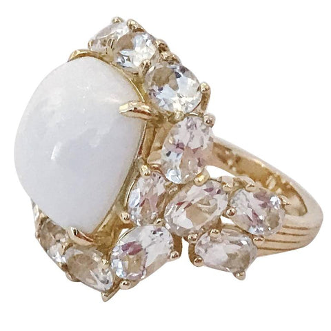 White Jade and White Topaz Yellow Gold Classic Cocktail Ring