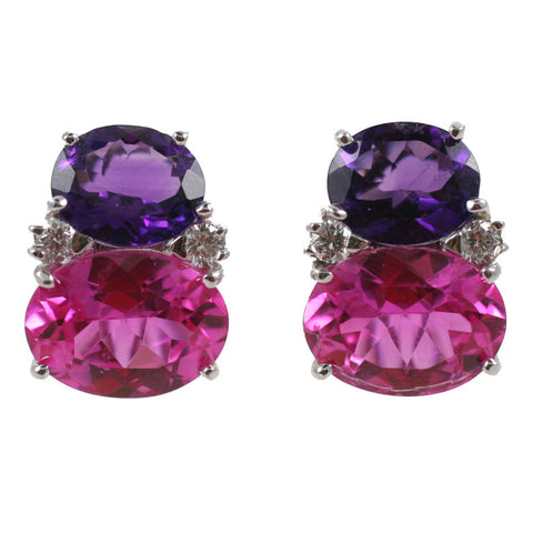 Large GUM DROP™ Earrings with Deep Amethyst and Pink Topaz and Diamonds